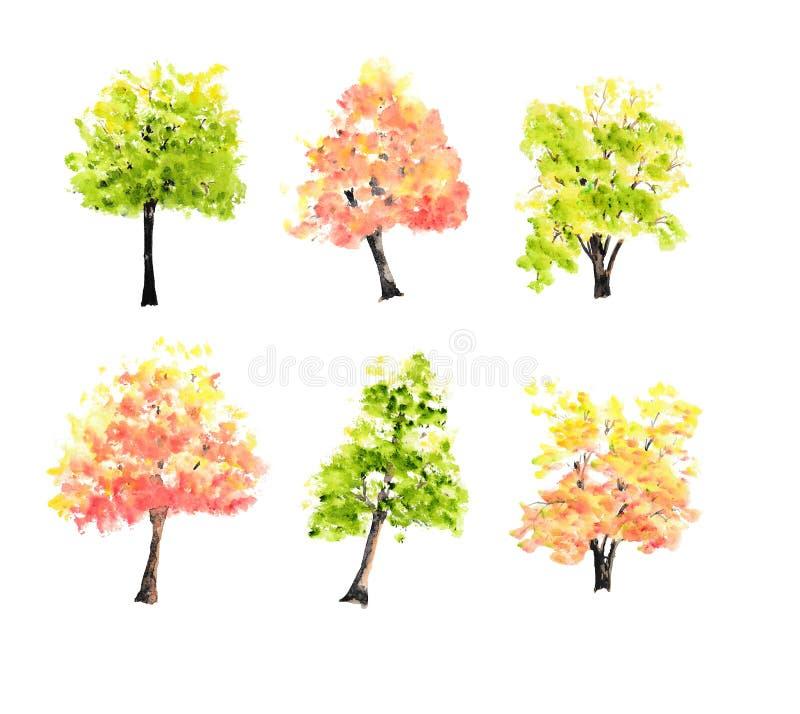 Samling av färgrika träd på vit, målad vattenfärghand stock illustrationer