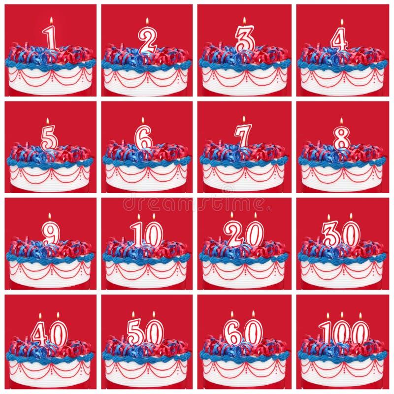 Samling av födelsedagnummerstearinljus stock illustrationer