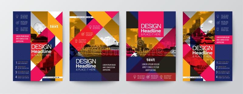 Samling av för affischreklamblad för modern design orientering t för räkning för broschyr royaltyfri illustrationer
