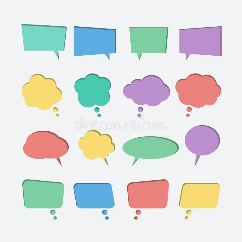 Samling av för anförandebubbla för färg papper klippta ut symboler för vektor vektor illustrationer
