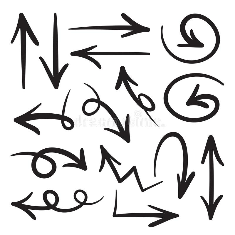 Samling av för klotterstil för hand utdragna pilar i olika riktningar och stilar , Vektorpiluppsättningar som isoleras på vit bak stock illustrationer
