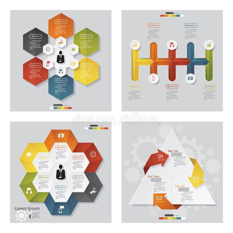 Samling av för malldiagram för 4 design orienteringen vektor stock illustrationer