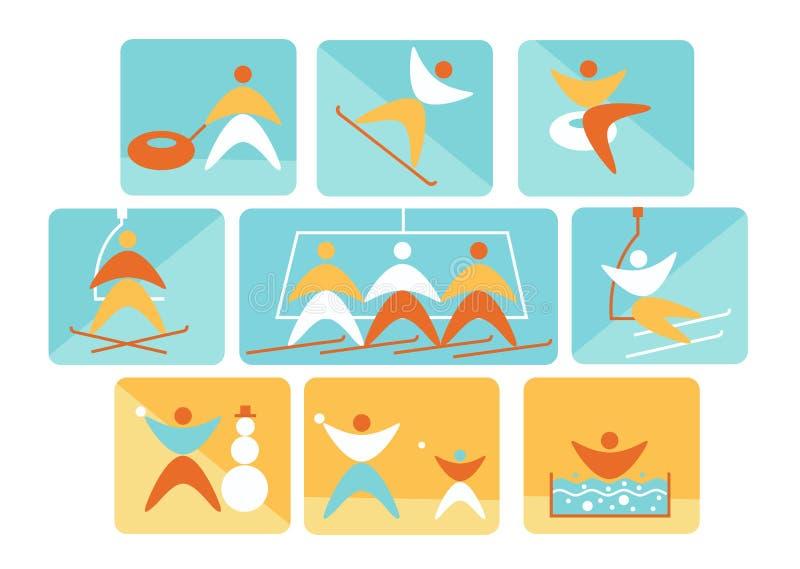 Samling av för navigeringtecken för vinter som färgrika linjära symboler föreställer skidåkning och andra utomhus- aktiviteter fö royaltyfri illustrationer