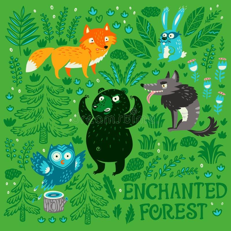 Samling av för tecknad filmskog för hand utdragna djur och växter arkivbild
