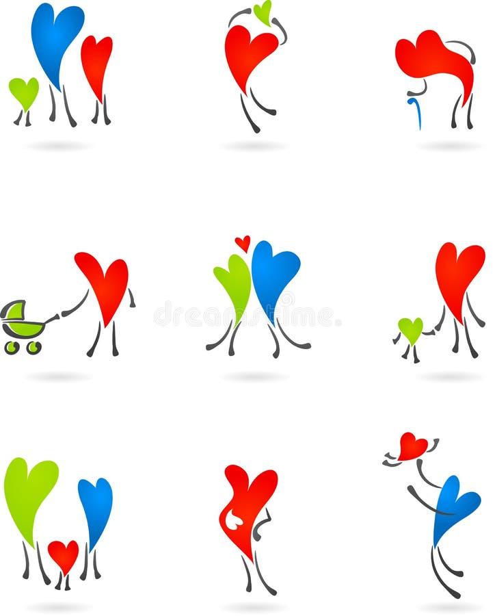 Samling av familjhjärtasilhouettes vektor illustrationer