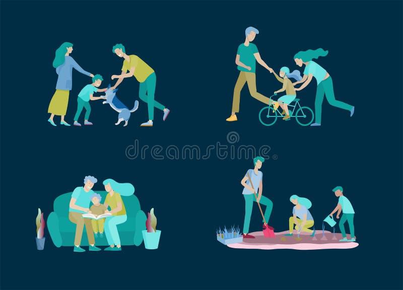 Samling av familjhobbyaktiviteter Modern, fadern och barn undervisar dottern att rida cykeln, lek med hundcorgien vektor illustrationer