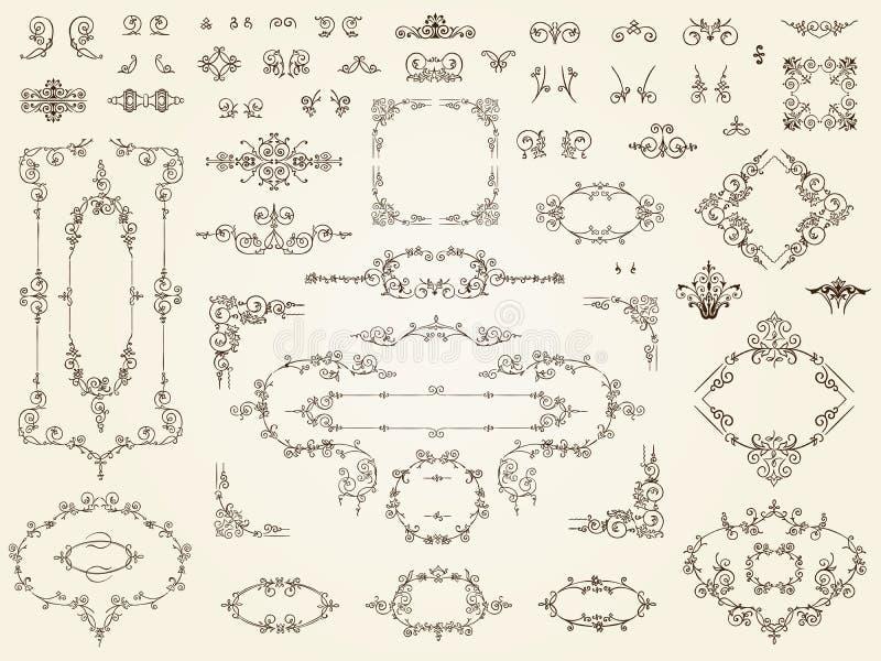 Samling av filigranprydnadbeståndsdelar vektor illustrationer
