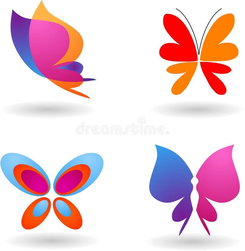 Samling av fjärilslogoer stock illustrationer
