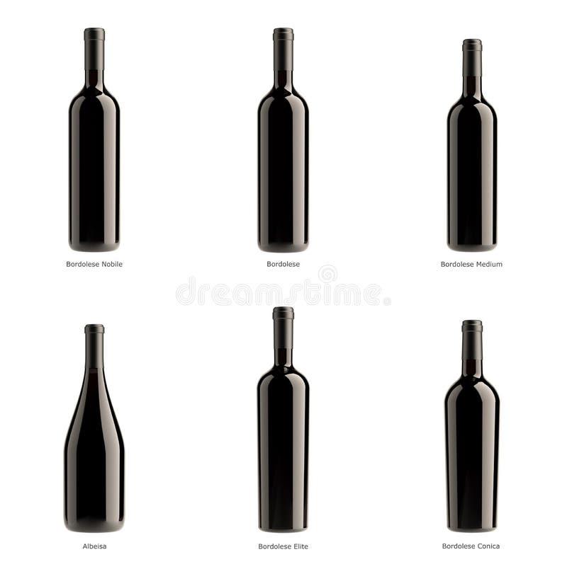 Samling av flaskor av rött vin royaltyfri illustrationer