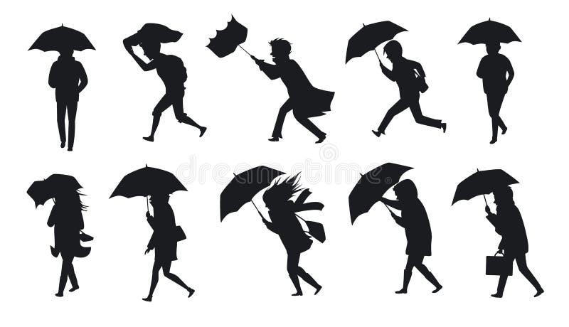 Samling av folk som går under regnstormvinden med paraplyer stock illustrationer