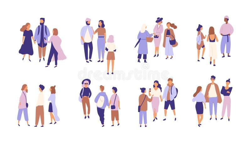 Samling av folk som till varandra talar eller snackar Packe av grupper av män och kvinnor som har konversation eller royaltyfri illustrationer