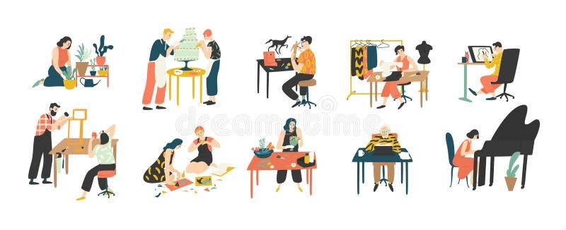 Samling av folk som tycker om deras hobbyer - hem- arbeta i trädgården, kulinariskt och att sy och att dra, pappers- collagedanan stock illustrationer