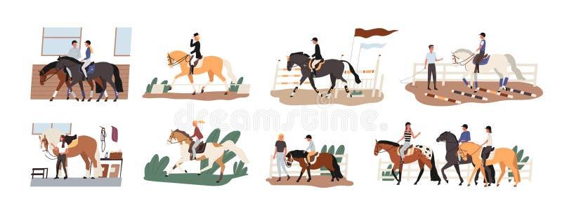 Samling av folkridninghästar Packe av gulliga män, kvinnor och barn som öva hästryggridning eller equestrianism stock illustrationer
