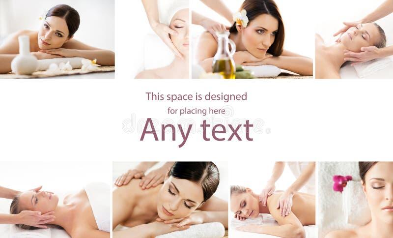 Samling av foto med kvinnor som har olika typer av massag arkivfoton