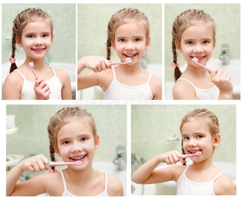 Samling av foto som ler den gulliga lilla flickan som borstar tänder arkivbild