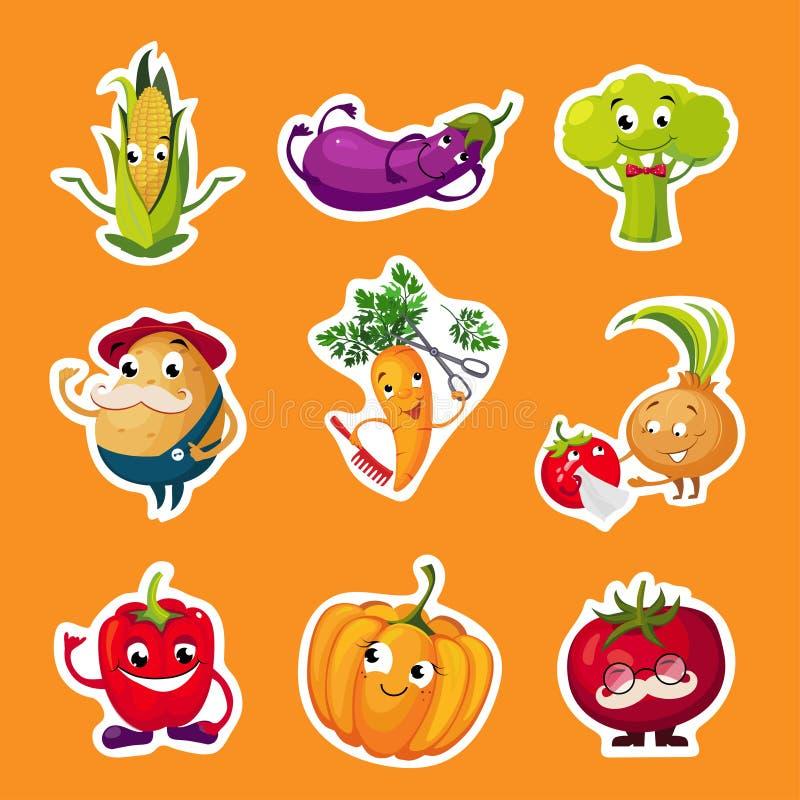 Samling av frukt- och grönsakklistermärkear, potatis, broccoli, tomat, aubergine, pumpa, havre, morottecken med vektor illustrationer