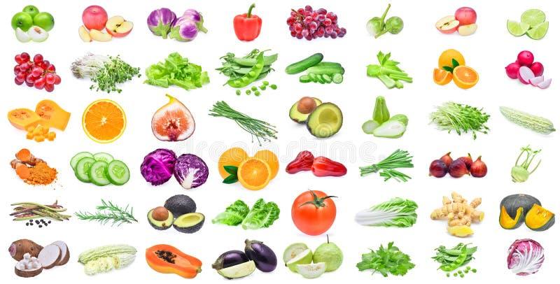 Samling av frukter och grönsaker som isoleras på vit bakgrund arkivbild