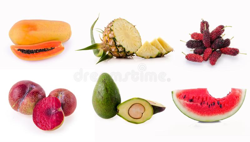 Samling av frukter som isoleras på vit bakgrund royaltyfria bilder