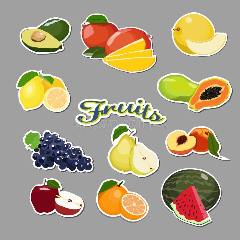 Samling av fruktklistermärkear som isoleras på grå bakgrund vektor illustrationer