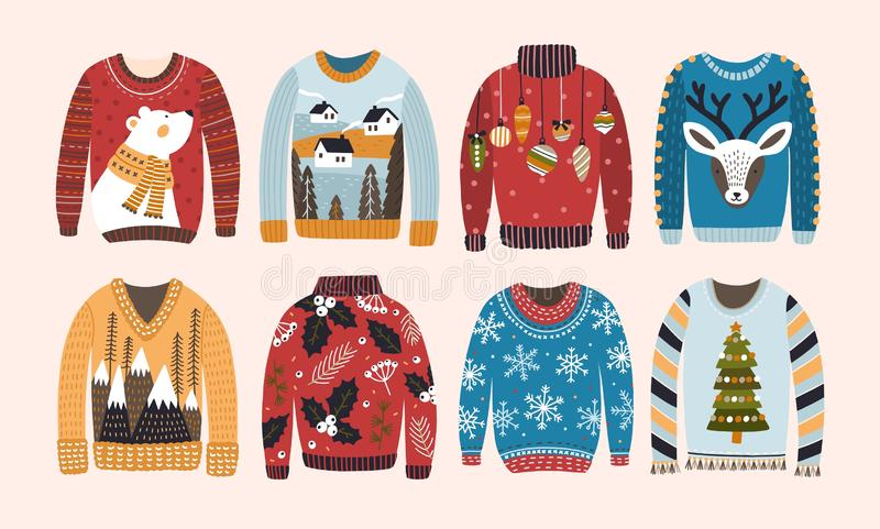 Samling av fula jultröjor eller förkläden som isoleras på ljus bakgrund Packe av stack woolen vinterkläder vektor illustrationer