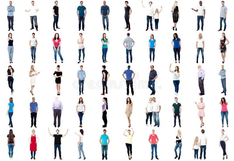 Samling av full längd diversifierat folk fotografering för bildbyråer