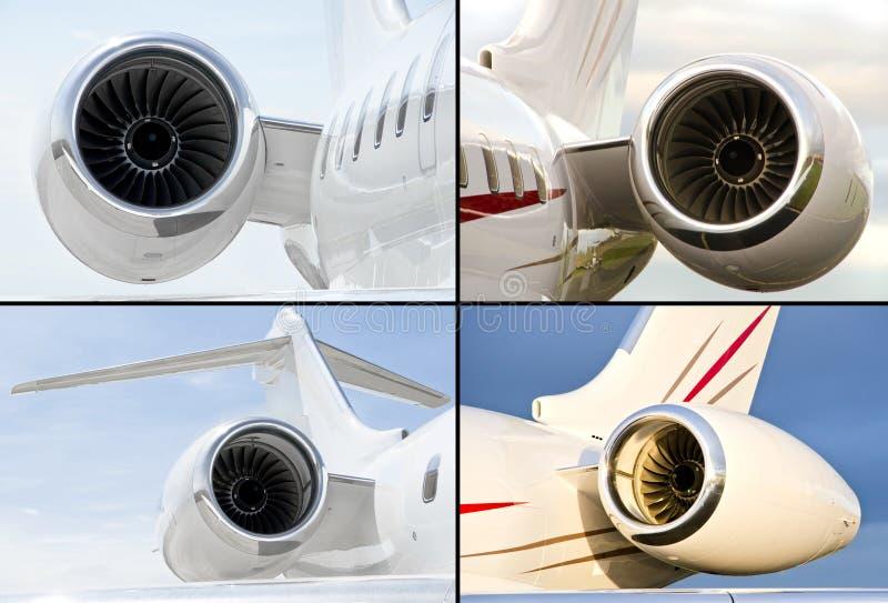 Samling av fyra jetmotorer på lyxigt flygplan för privat stråle royaltyfri bild