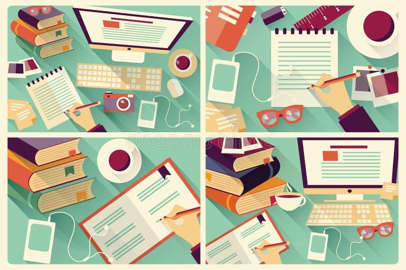 Samling av fyra plana designarbetsskrivbord, brevpapper royaltyfri illustrationer