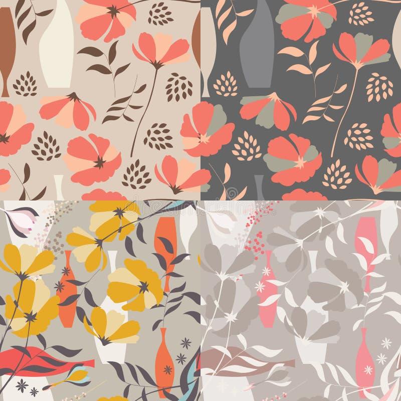 Samling av fyra sömlösa modeller för vektor med blom- beståndsdelar royaltyfri illustrationer