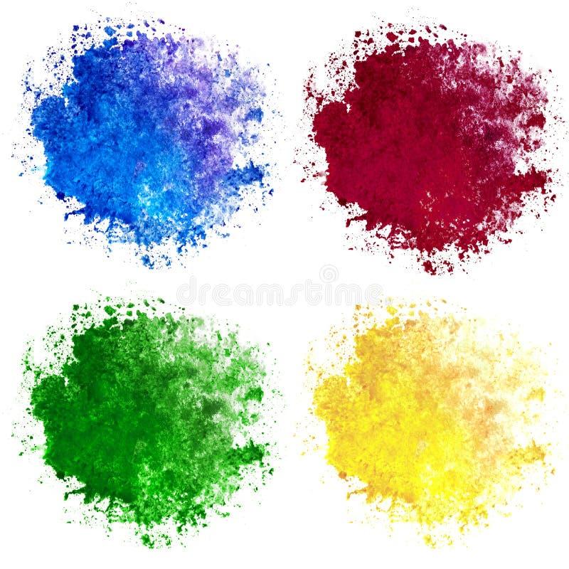 Samling av fyra vattenfärgfläckar som är blåa som är röda som är gula och som är gröna på vit bakgrund arkivfoto