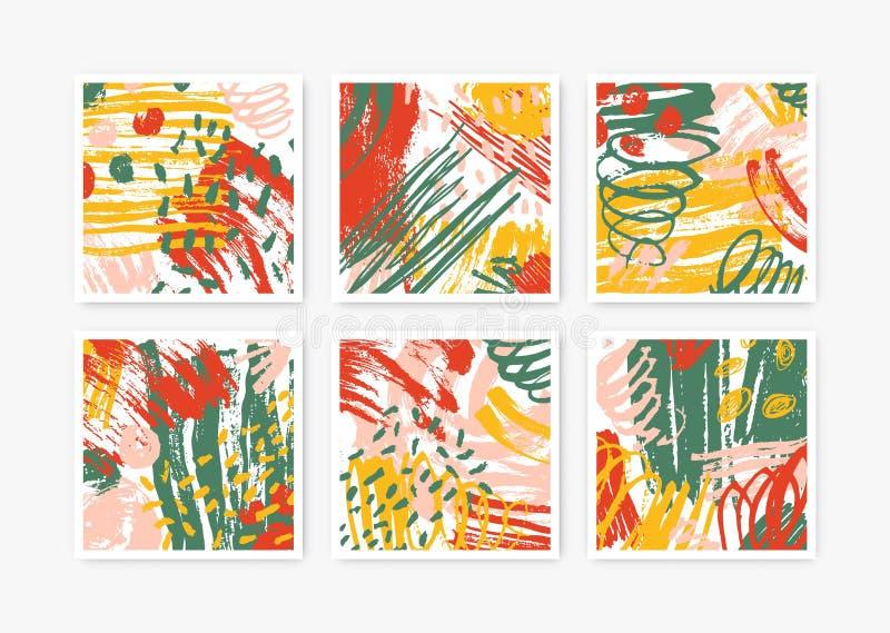 Samling av fyrkantiga bakgrunder med utdragna texturer för abstrakt hand Ställ in av bakgrunder med färgrik målarfärg spårar, flä vektor illustrationer