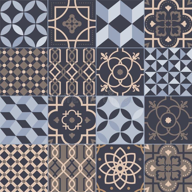 Samling av fyrkantiga keramiska tegelplattor med olika geometriska och traditionella orientaliska modeller dekorativa illustratio vektor illustrationer
