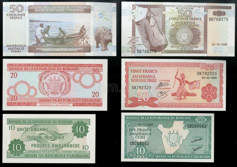 Samling av gamla sedlar av den centrala statliga banken av Republiken Burundi, Afrika royaltyfri foto