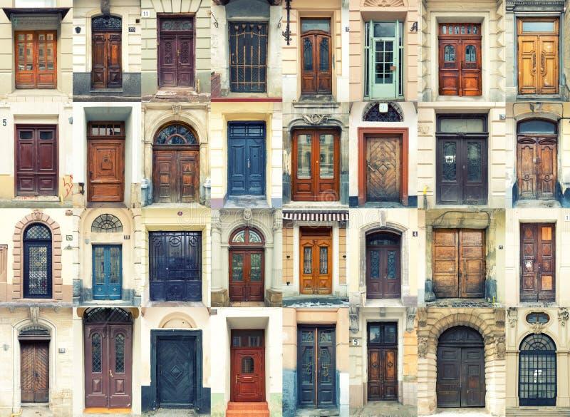Samling av gammala dörrar arkivbilder