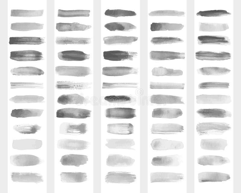 Samling av genomskinliga borsteslaglängder för efterföljd av vattenfärgteckningen också vektor för coreldrawillustration royaltyfri illustrationer