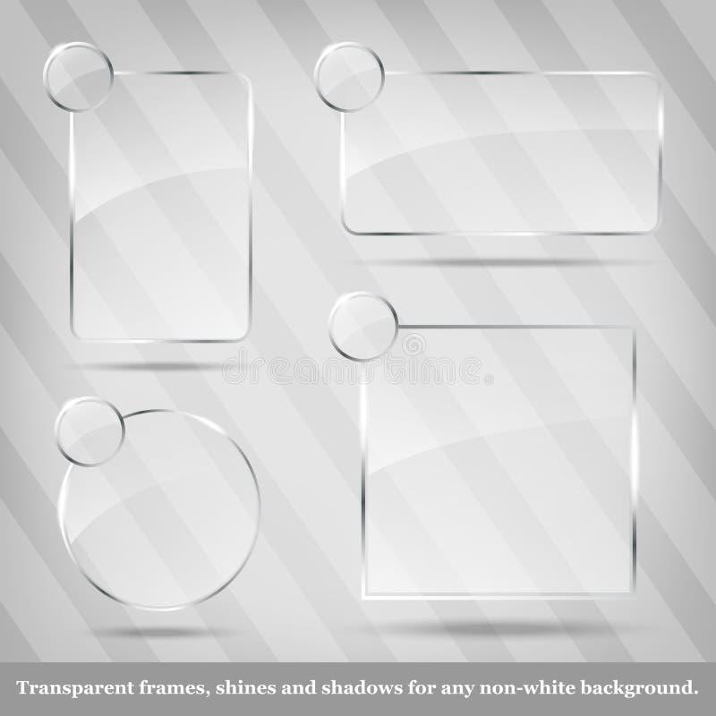 Samling av genomskinliga glass ramar stock illustrationer