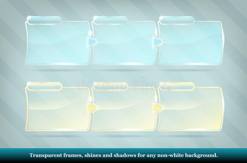 Samling av genomskinliga glass ramar vektor illustrationer