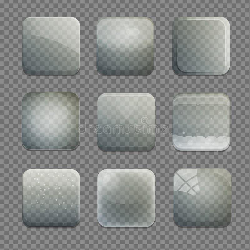 Samling av genomskinliga knappar för exponeringsglasfyrkantapp stock illustrationer