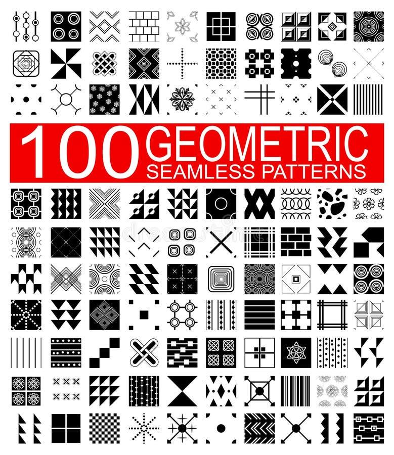 Samling av 100 geometriska sömlösa modeller för olik vektor royaltyfri illustrationer