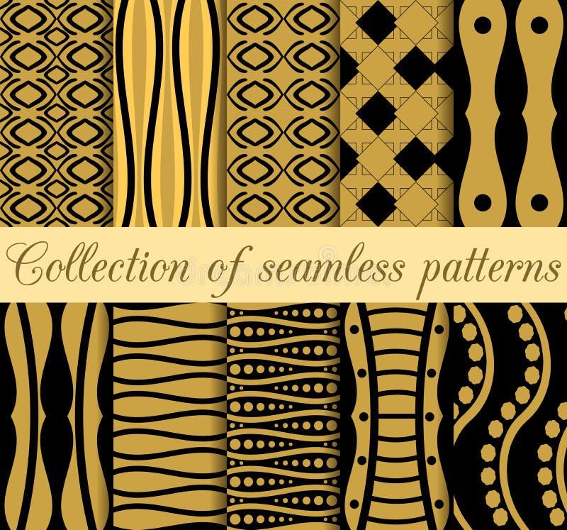 Samling av geometriska sömlösa modeller i art décostil royaltyfri illustrationer