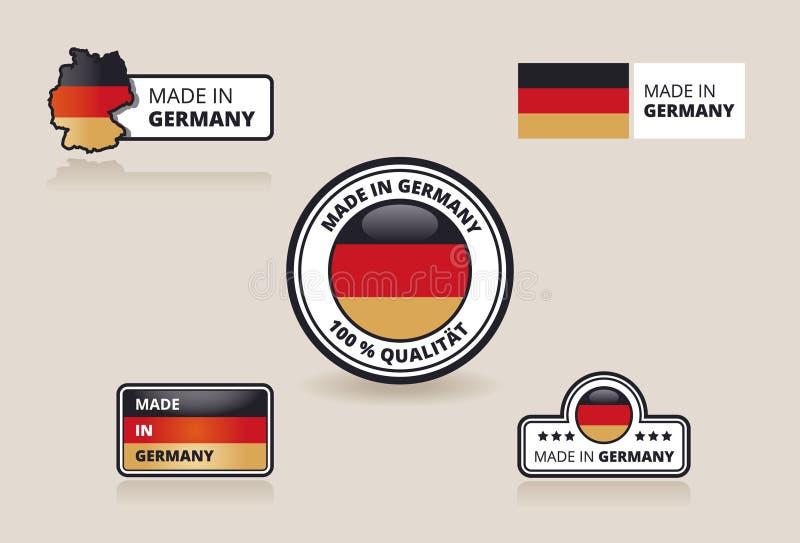 Samling av gjort i Tysklandetiketter, emblem och klistermärkear royaltyfri fotografi