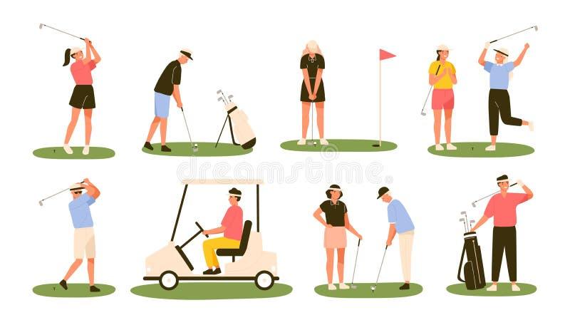 Samling av golfspelare som isoleras på vit bakgrund Packe av manliga och kvinnliga golfare som slår bollen med klubbor stock illustrationer