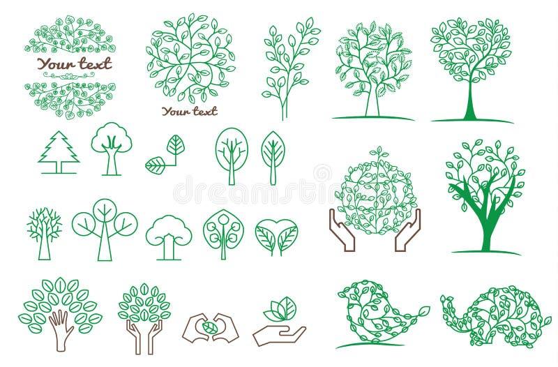 Samling av grönt träd, logoer och symboler vektor illustrationer