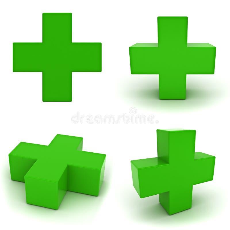 Samling av green plus tecken royaltyfri illustrationer
