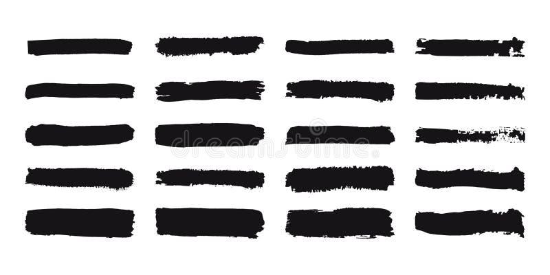 Samling av grungeborsteslaglängder Målad banduppsättning Svart dragen textur för färgpulver hand Linjer som isoleras på vit bakgr stock illustrationer