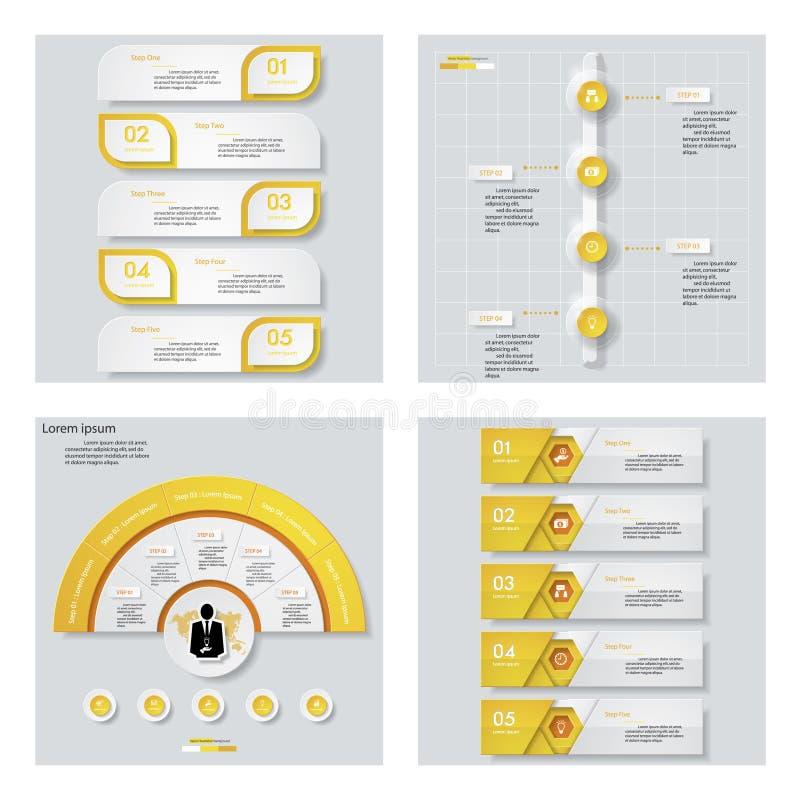 Samling av 4 gula färgmall-/diagram- eller websiteorientering Det kan vara nödvändigt för kapacitet av designarbete stock illustrationer