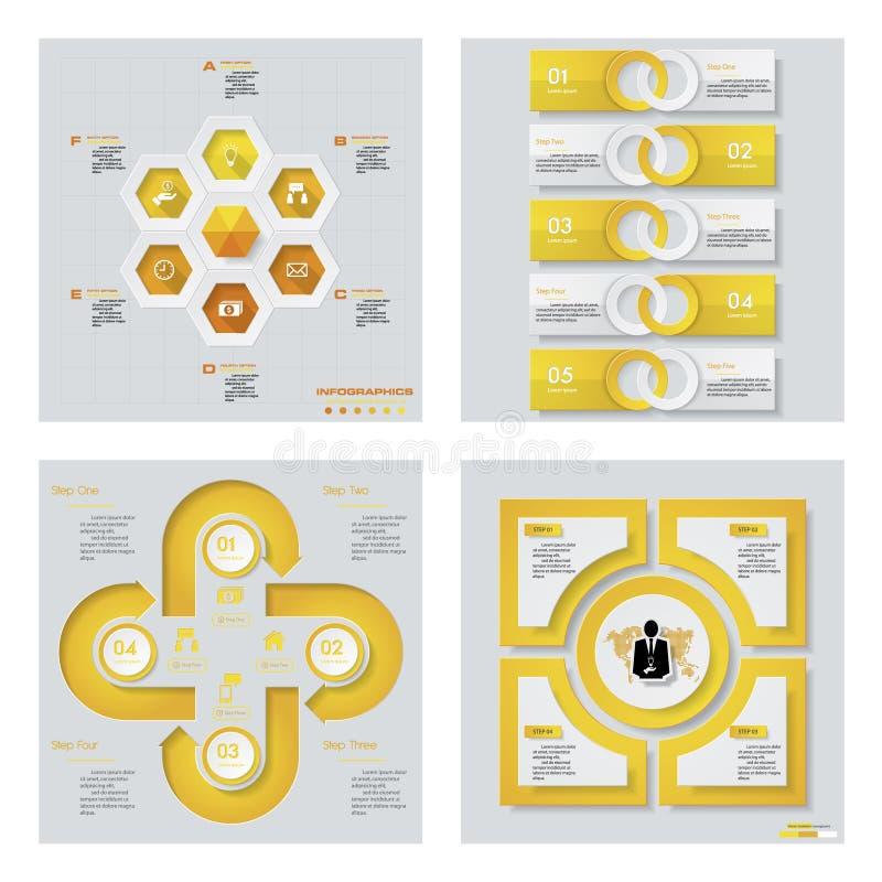 Samling av 4 gula färgmall-/diagram- eller websiteorientering Det kan vara nödvändigt för kapacitet av designarbete vektor illustrationer