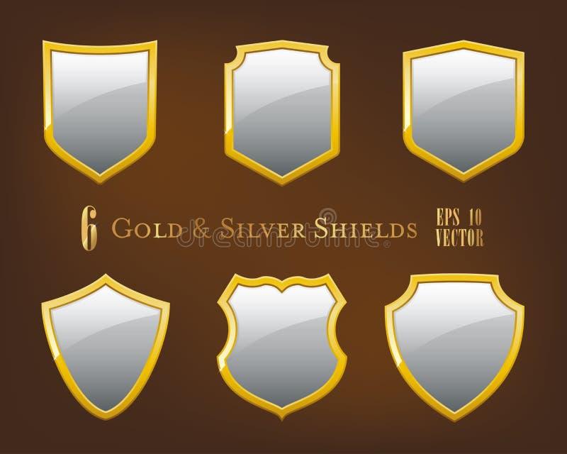Samling av guld- och silversköldar stock illustrationer