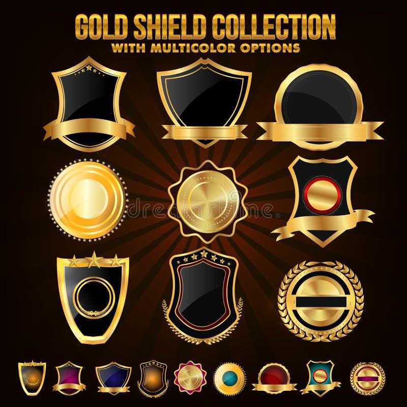 Samling av guld- sköld, klistermärkear, etiketter eller band royaltyfri illustrationer