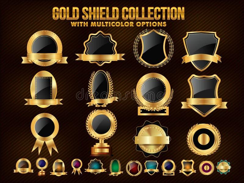 Samling av guld- sköld, klistermärkear, etiketter eller band stock illustrationer