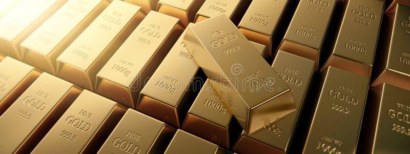 Samling av guld- stänger och en enkel fin guld- stång royaltyfri illustrationer